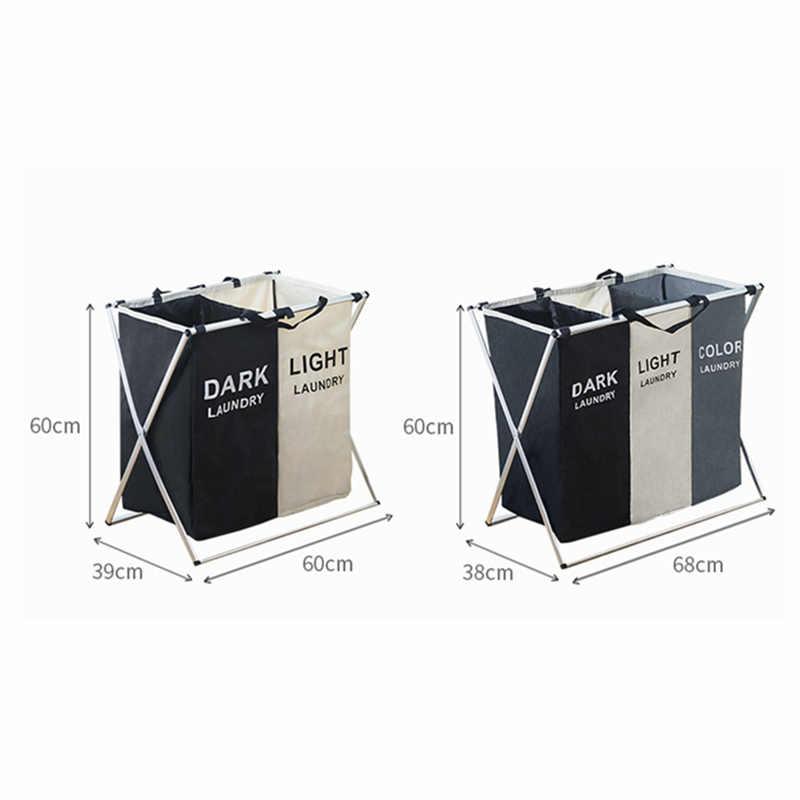 X-شكل طوي القذرة سلة الغسيل المنظم المطبوعة لطي ثلاثة شبكة المنزل سلة الغسيل فارز سلة الغسيل كبيرة