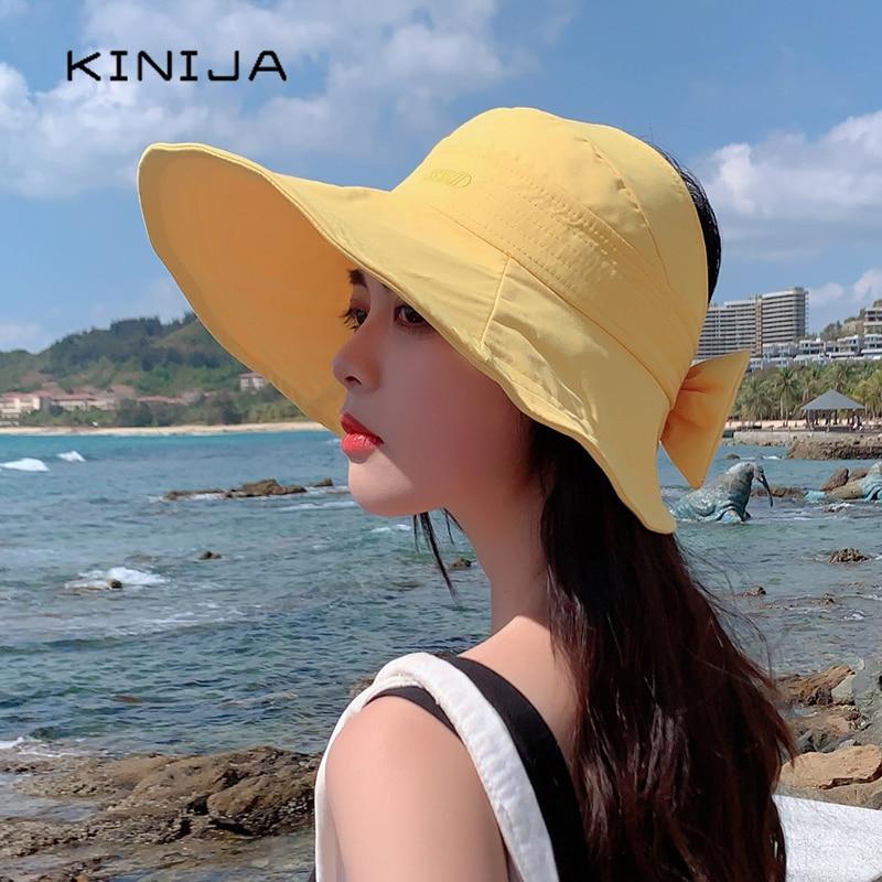 Summer women fashion beach sun hat solid cotton uv protection Foldable Empty cap Korean casual girls large brim bow chapeau caps