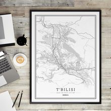 Georgia Black and White City Map Poster Nordic Living Room Tbilisi POTI Wall Art Home Decor Canvas Painting Creative gift(China)