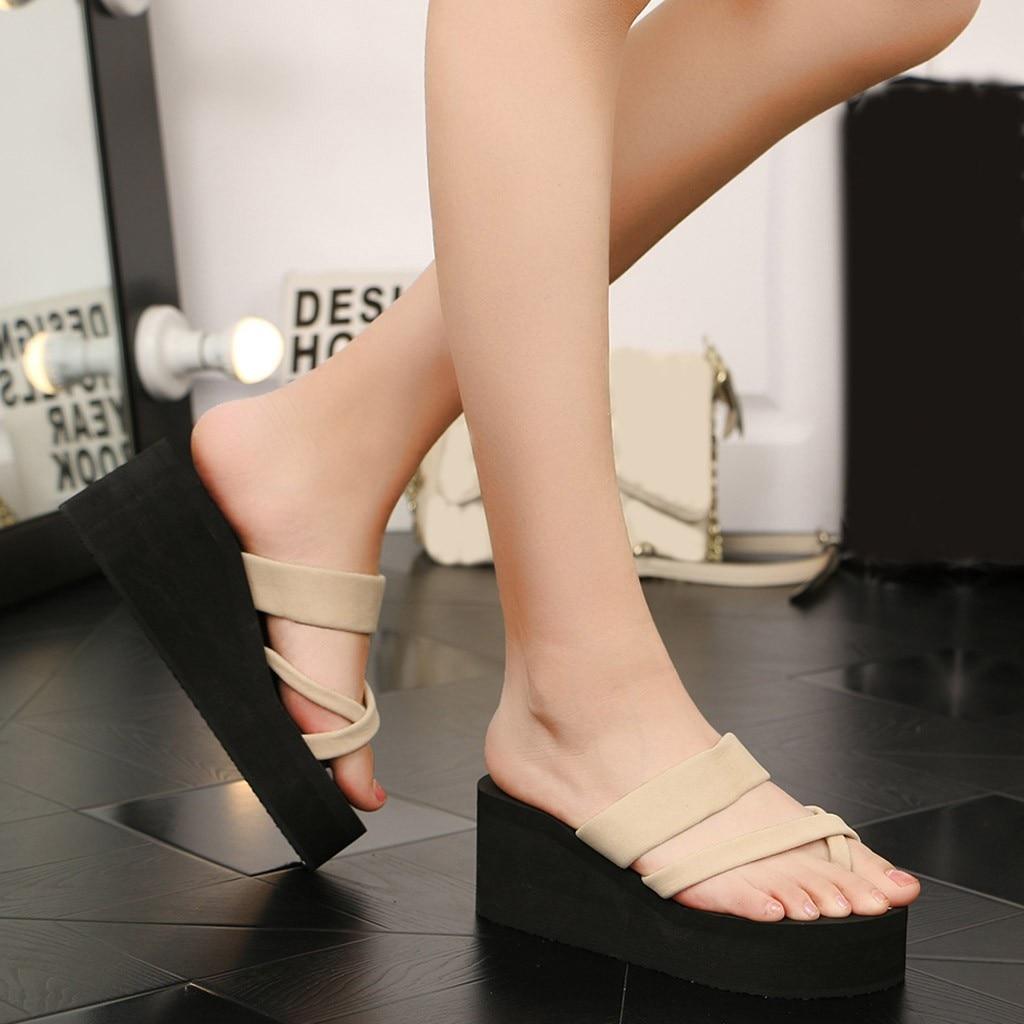 JAYCOSIN Heel Wedge Summer Sandals Shoes Woman Non-Slip Platform Flip Flops Sandals Flat Beach Slippers Women zapatos de mujer 1 2