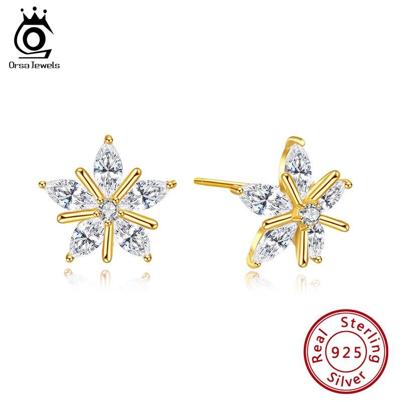 ORSA JEWELS Real S925 Snowflake Stud Earrings Newest Christmas Theme Cute Trendy Sterling Silver Zirconia Women Jewelry SE172