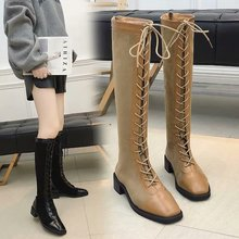 Lace Up Over Knee Boots Women Fashion Martin Boots Warm Plush Women Boots Winter 2019 New Sexy Thigh High Boots Brown Black Boot free shipping martin boots motorcycle black boots women new arrived fashion women winter and autumn woman plush boots