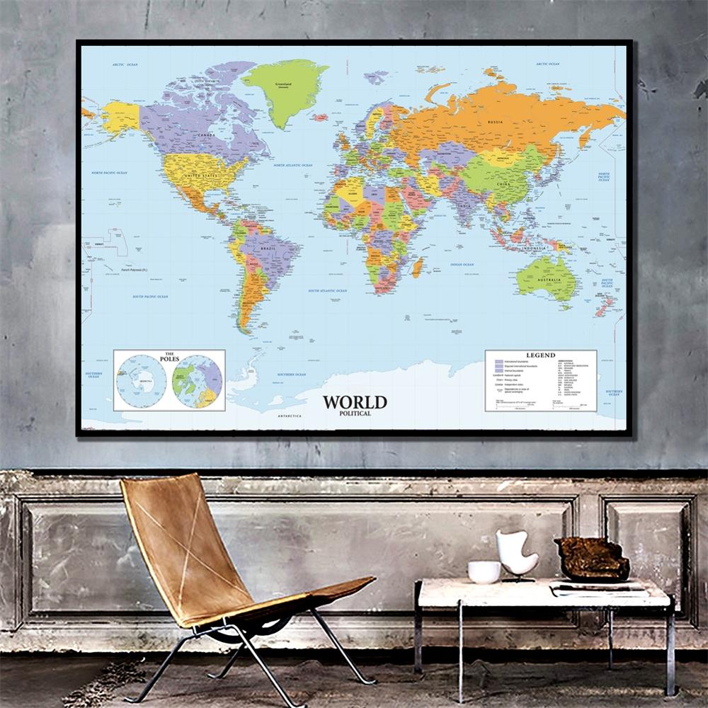 A2 Size The World Political Map Vinyl Spray Painting Canvas Waterproof Unframed Wall Map For Home Decor