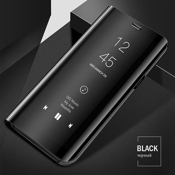 Смарт mi rror флип чехол для Xiao mi Red mi Note 8 7 K20 5 6 Pro 4X5 Plus 5A 8A 7A S2 кожаный чехол для mi 9 9T Pro 8 SE A1 A2 чехол - Цвет: Black