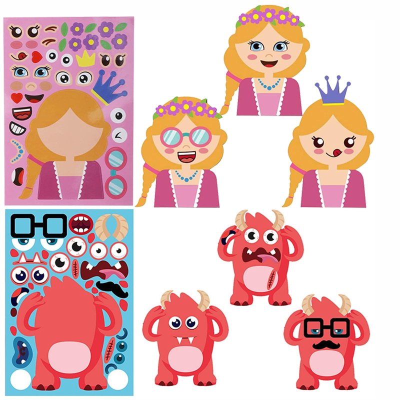 8/4sheets Children DIY Stickers Make Your Own Face Puzzle Sticker Games Cartoon Animal Princess Fun Gift For Kids Creative Toys 2