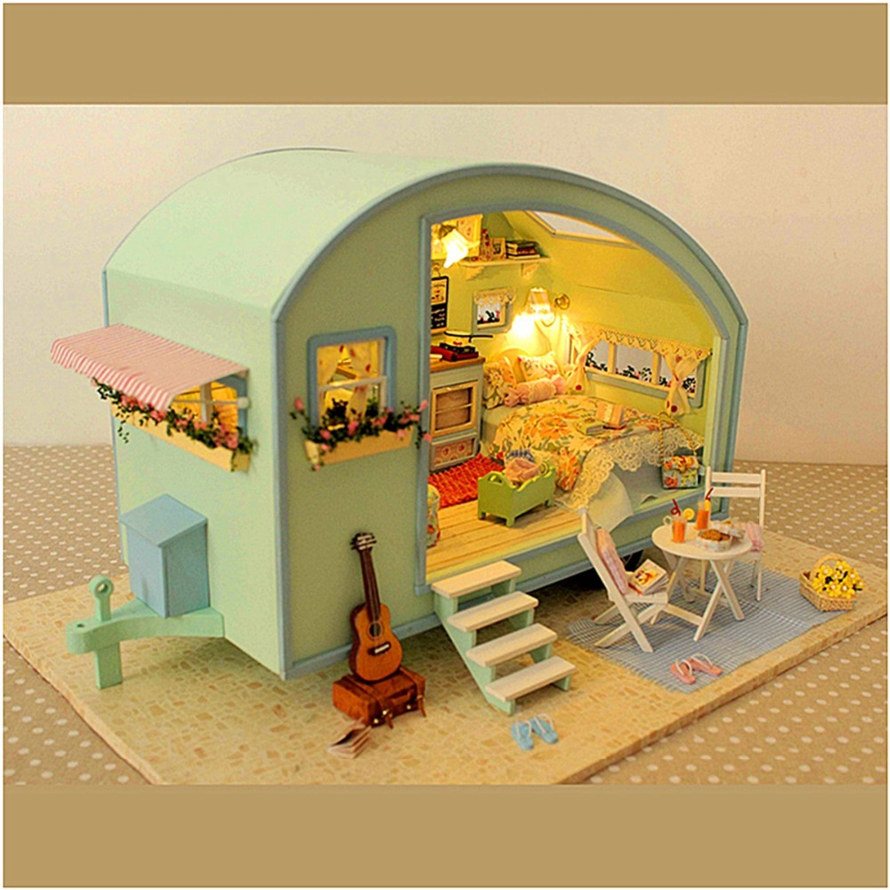 Cuteroom DIY Wooden Dollhouse Miniature Kit Doll house LED+Music+Voice Control Handmade Kits Travel Caravan For Girls