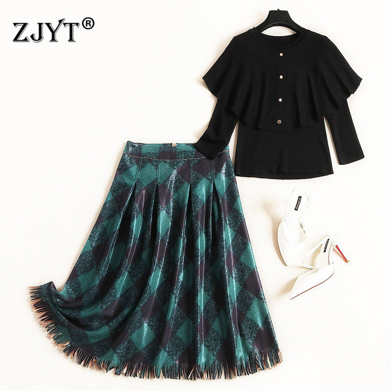 Autumn New Fashion 2Piece Skirt Set Women Elegant Cloak Long Sleeve Knit Sweater And Suede Leather Skirt Suit Sets Casual Outfit