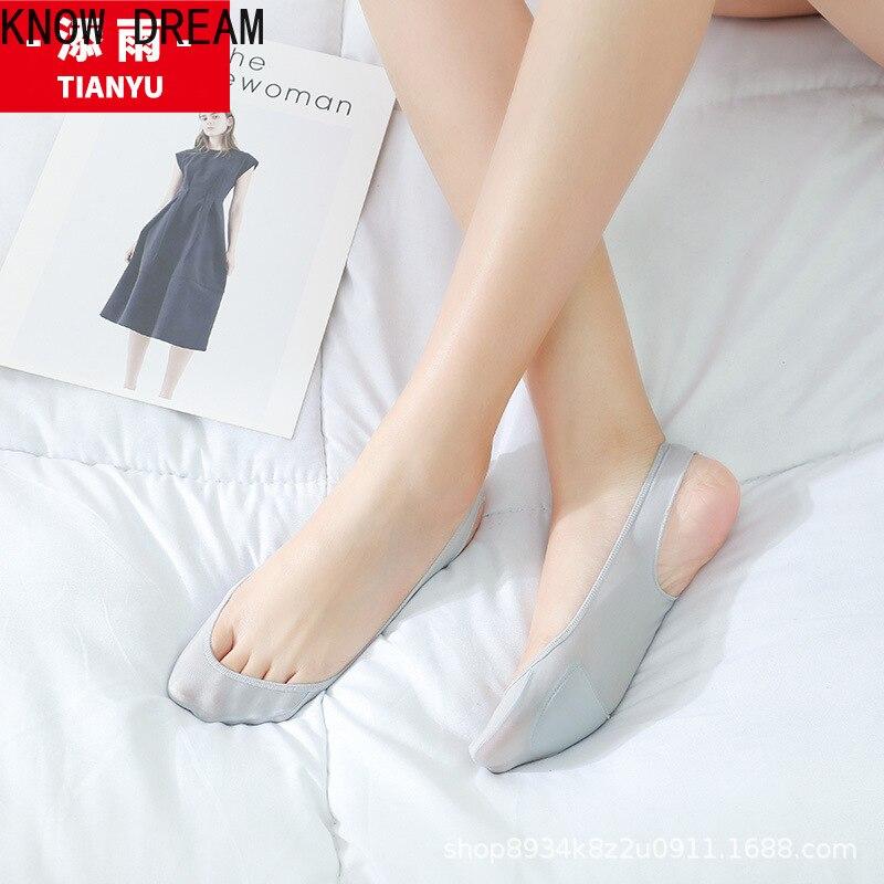 Узнайте мечта женские невидимые носки верхнего слоя льда шелка слинг носки-башмачки спереди ладонная вставка тонкие летние носки высокие к...