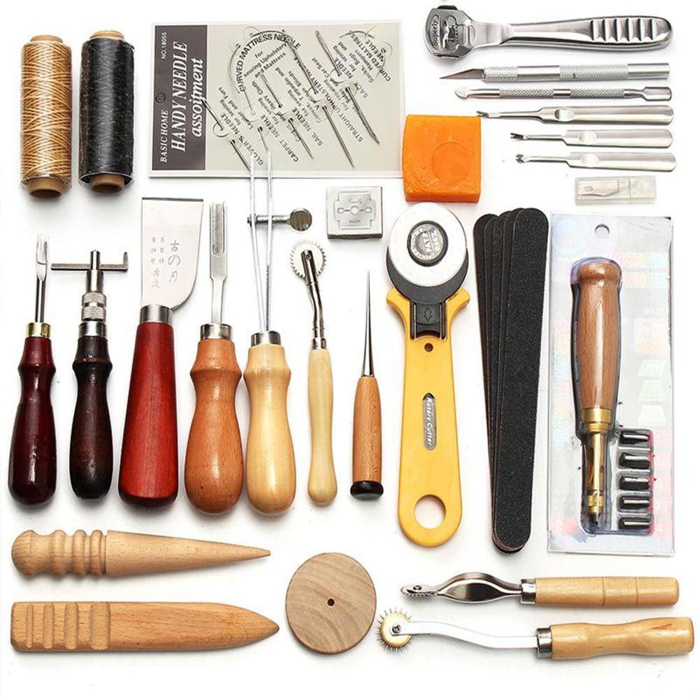 Beginner Leather Craft Tool Leather Sewing Kit DIY Hand Stitching Tools with Groover Awl Edge Crease professional sets image