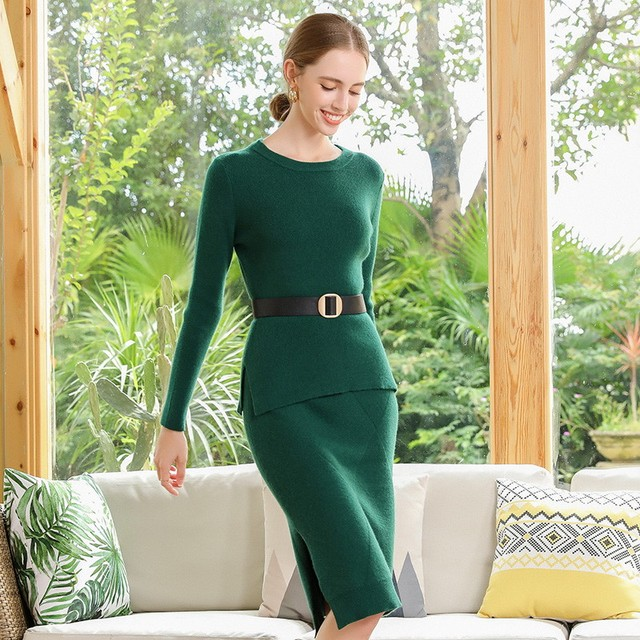 2 Pieces Sets 100 Cashmere Women O neck Pullover and Skirt Sets Knit Solid Slit Skirt 2019 Winter Sweater Soft Knitwear Sweaters