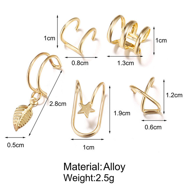 Modyle Fashion Gold Color Ear Cuffs Leaf Clip Earrings for Women Climbers No Piercing Fake Cartilage Earring Accessories Gift 2