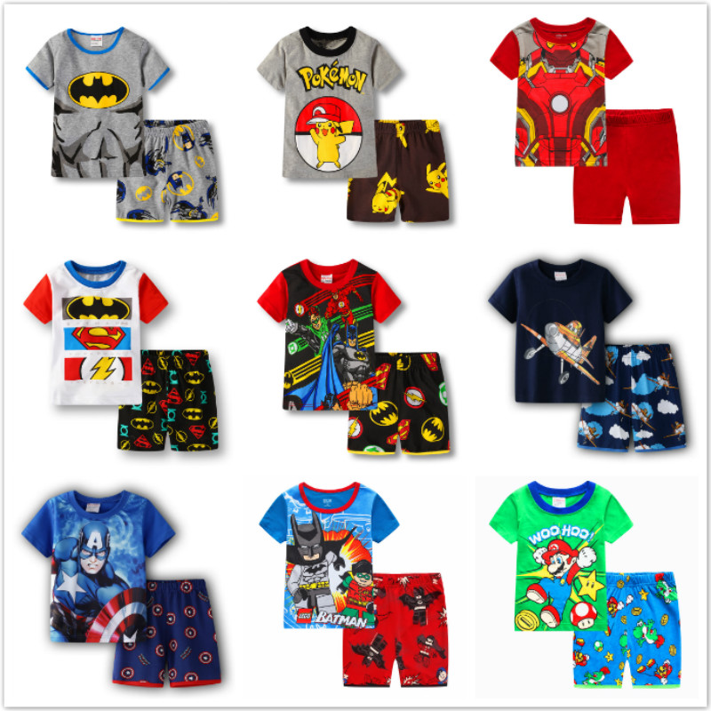 Kids Boys Girl Clothes Baby Pajamas Summer Cotton Short Sleeve Pyjamas Pijamas Set Cartoon Batman Pokemon Children's Sleepwear
