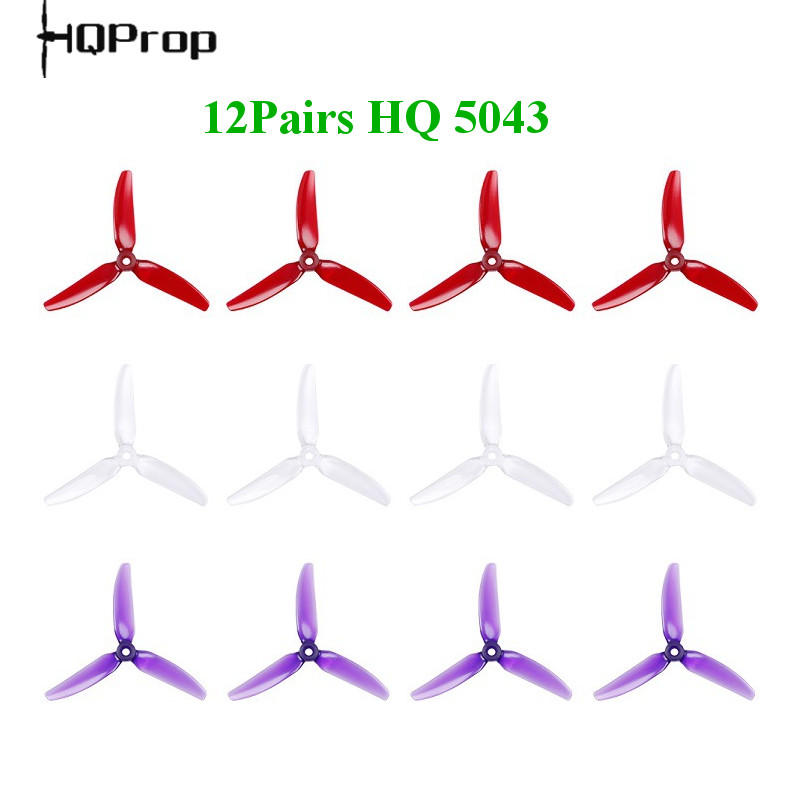 12Pairs 24PCS HQprop HQ 5X4.3X3 5043 5inch 3 Blade/tri-blade Propeller Prop POPO For T-Motor Motor FPV RC Racing Drone