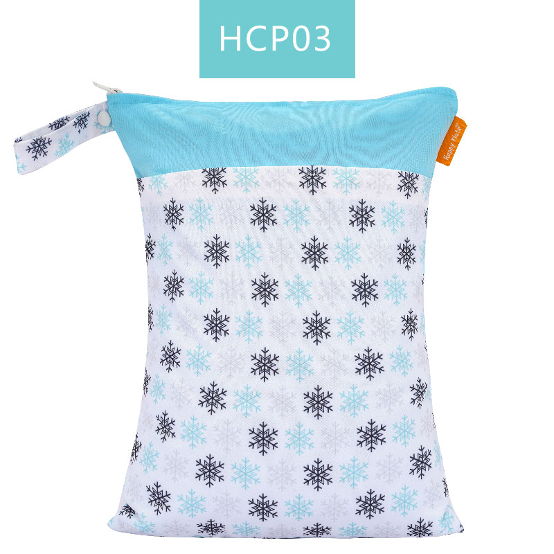 Happy Flute 1 шт. Многоразовые водонепроницаемые модные принты влажная сухая сумка для подгузников двойной карман тканевая Ручка сумки для мокрого плавания 30*40 см - Цвет: ES001HCP03