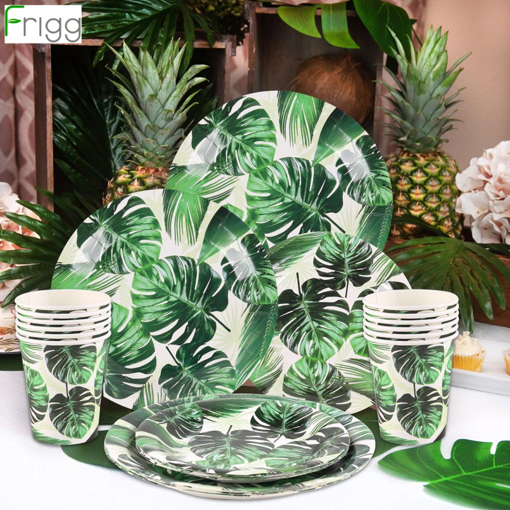 Frigg Hawaii Disposable Tableware Hawaiian Luau Jungle Birthday Party Decor Summer Tropical Party Decoration Aloha Wedding Decor