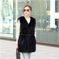 JKP Real Raccoon Fur Long Sleeveless Vest Coat for Women Section Winter Warm Fashion Natural Raccoon Fur Coat High Quality