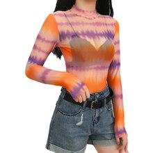 Casual Colorful Mesh Transparent Turtleneck T-shirt Women 2019 Summer Streetwear Full Sleeve Tee Tops