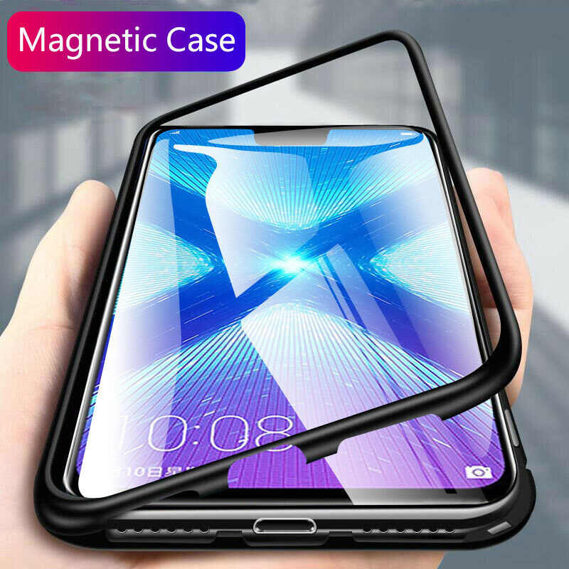 Logam Magnetik Tempered Glass Case untuk Huawei P20 P30 Mate 20 30 Lite Pro Back Cover Coque