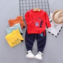 Infantil outono crianças conjunto de roupas novas crianças terno 0-4 ano bebê menina roupa de algodão roupas esportivas desenhos animados dinossauro meninos terno
