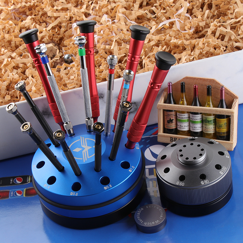 Watchband Stainless Steel Metal Organized  Watch Accessories Repair Tools Kits Turntable Rotating Screwdriver Non-Slip
