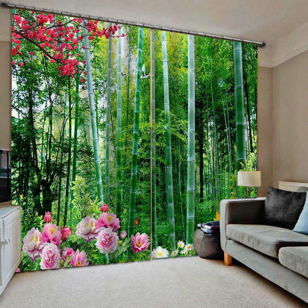 Green bamboo curtains Customized size Luxury Blackout 3D Window Curtains For Living Room Blackout curtain
