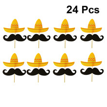 24pcs Messicano di Carnevale Cappello Baffi Cake Topper Cupcake Toppers Torta Del Partito Ornamento Forniture Da Tavolo Decor Baby Shower Compleanno(China)