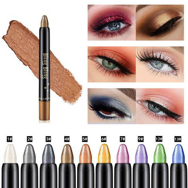 Glitter Eye Shadow Pencil Beauty Shimmer Highlighter Eyeshadow Pen Stick Waterproof Long Lasting Eyes Makeup