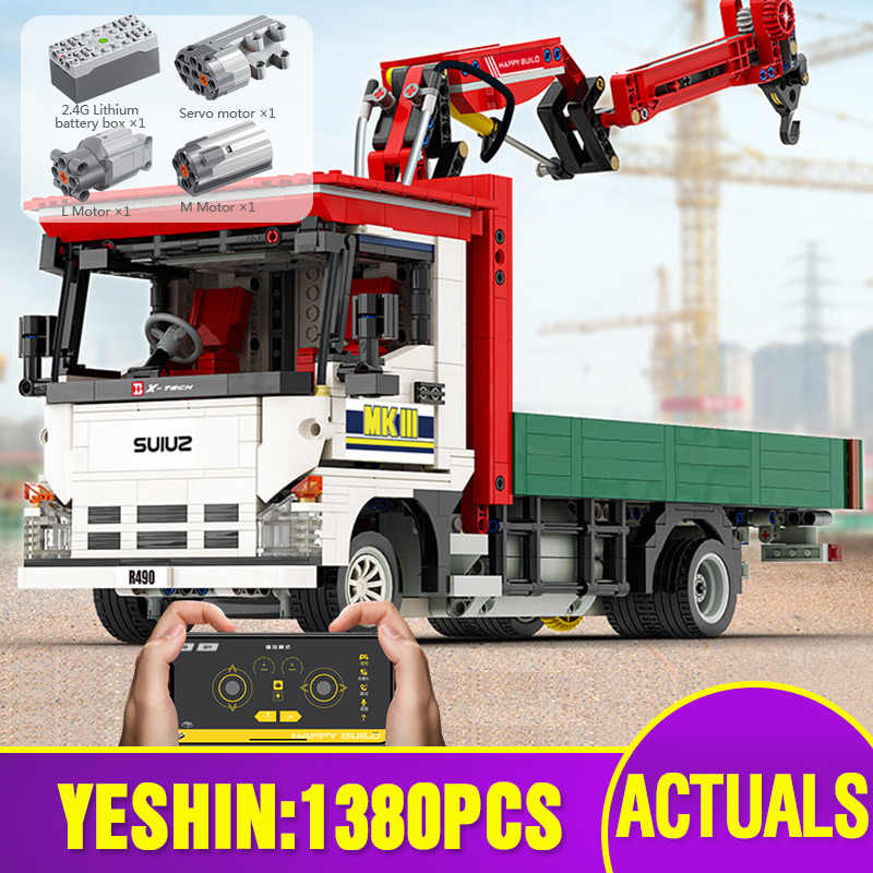 Yeshin YC-GC007 Technic Car The MOC APP RC gru motorizzata camion Set Building Block Assembly modello di auto mattone regalo di natale per bambini