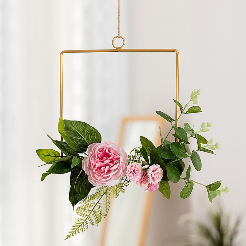 Novelty Home Kitchen Wall Art Decoration Floral Gold Metal Geometric Hoop Wreath Artificial Flower Garland Hanging Pendant Decor Buy At The Price Of 2 13 In Aliexpress Com Imall Com