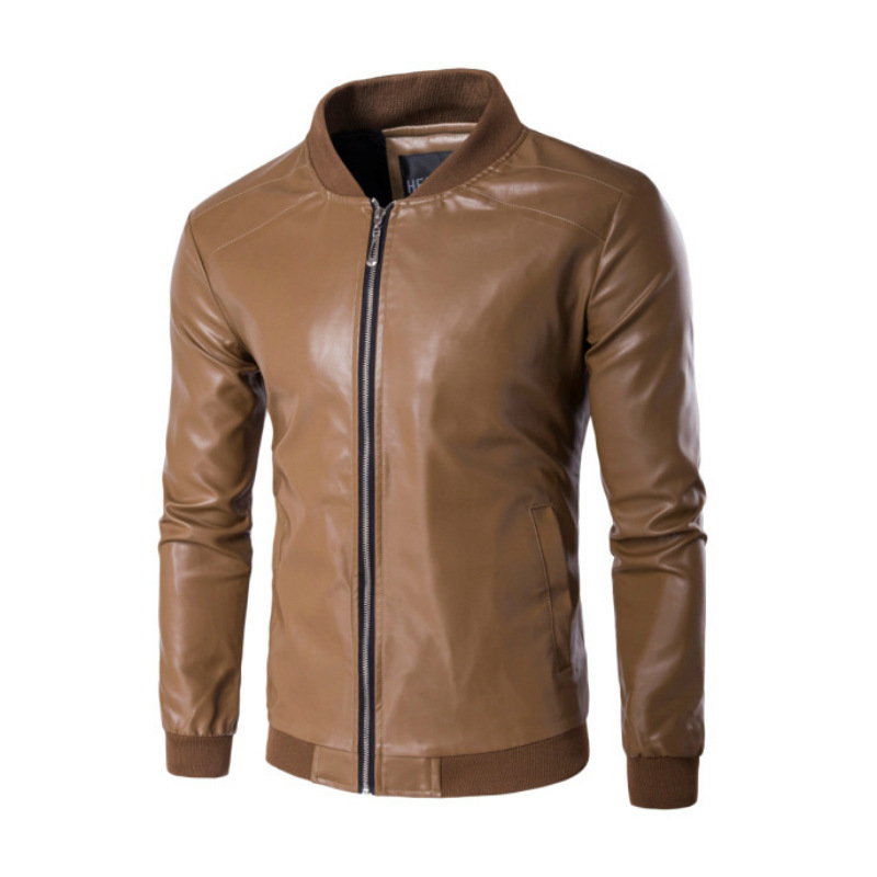 Manufacturers Direct Selling Spring And Autumn Thin Men Baseball Collar Slim Fit PU Leather Coat Large Size Casual Versatile Lea