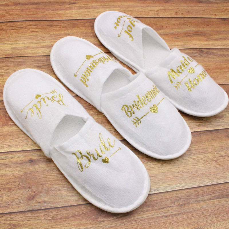 New Wedding Favors and Gifts Bride Slippers Bridesmaid Personalized Gift Wedding Gifts for Guests Souvenir Event