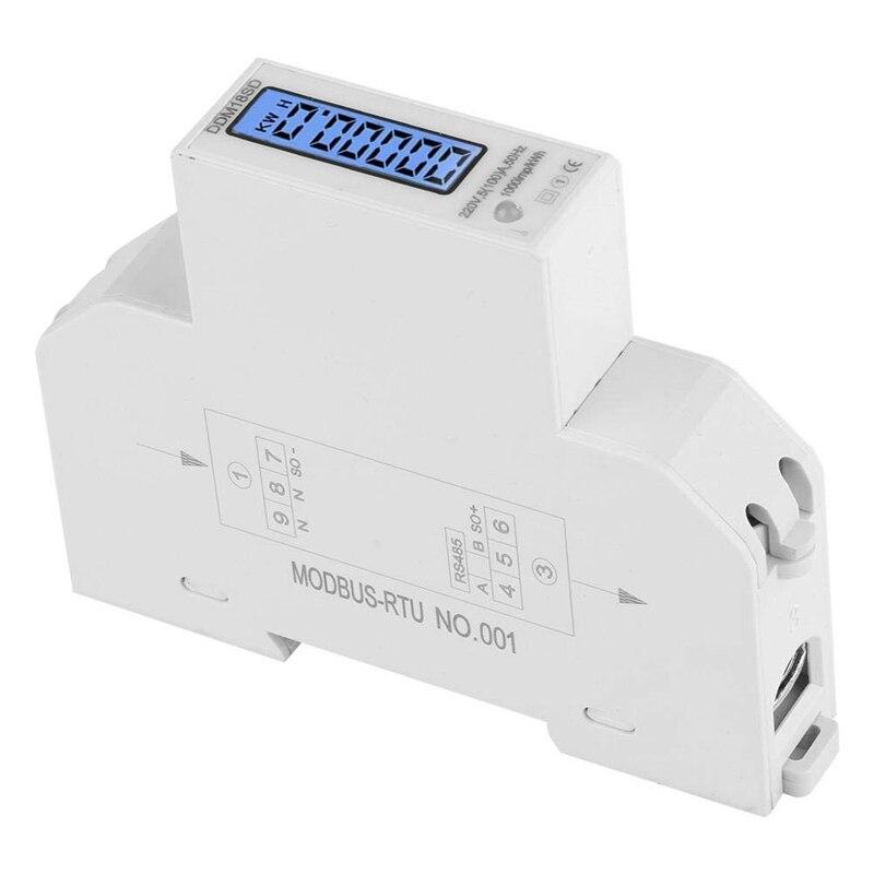Tüketici Elektroniği'ten Görüntüleme Ekranı'de 5 100A 220V enerji ölçer tek fazlı RS485 MODBUS protokolü LCD arkadan aydınlatmalı ekran Din demiryolu Watt metre enerji ölçer title=