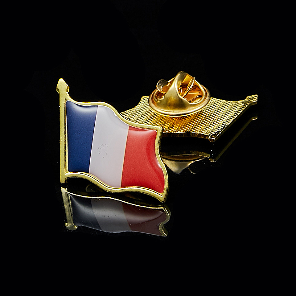 France /& England Flag Friendship Courtesy Pin Badge