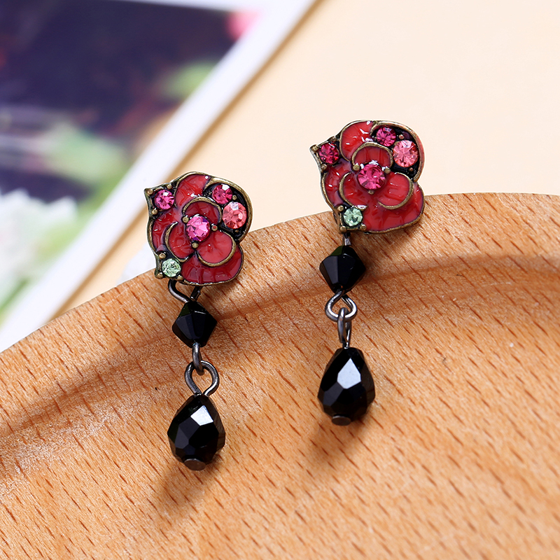 Vintage Style Exquisite Crystal Red Enamel Rose Flower Acrylic Drop Earrings For Women Fashion Jewelry Wholesale