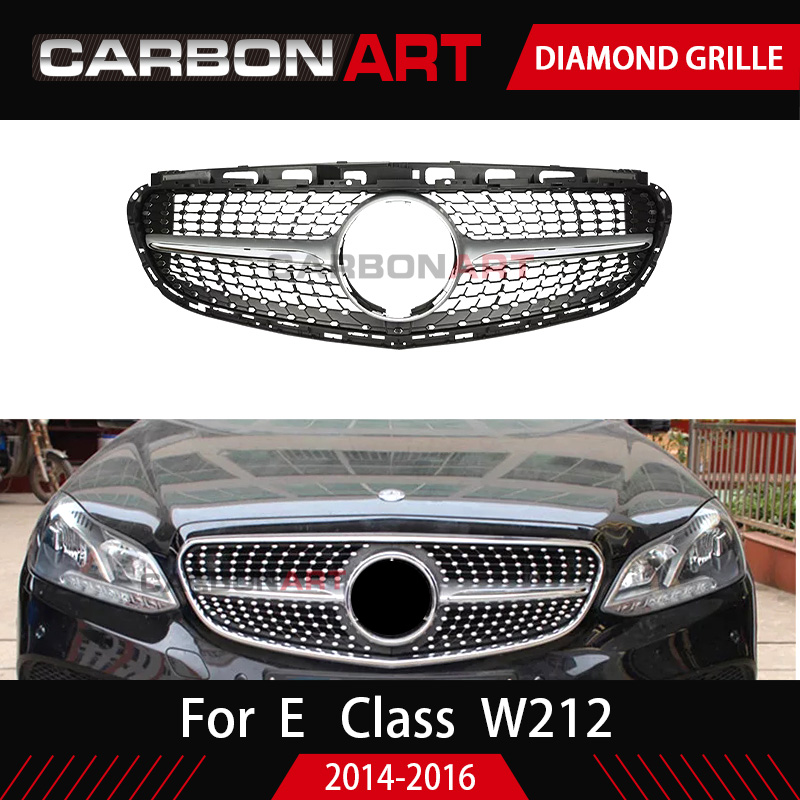 Auto Diamond Front Grille Mesh For <font><b>Mercedes</b></font> E Class <font><b>W212</b></font> Plastic <font><b>Grill</b></font> Replacement Silver Color Without Cam 2014 2015 image