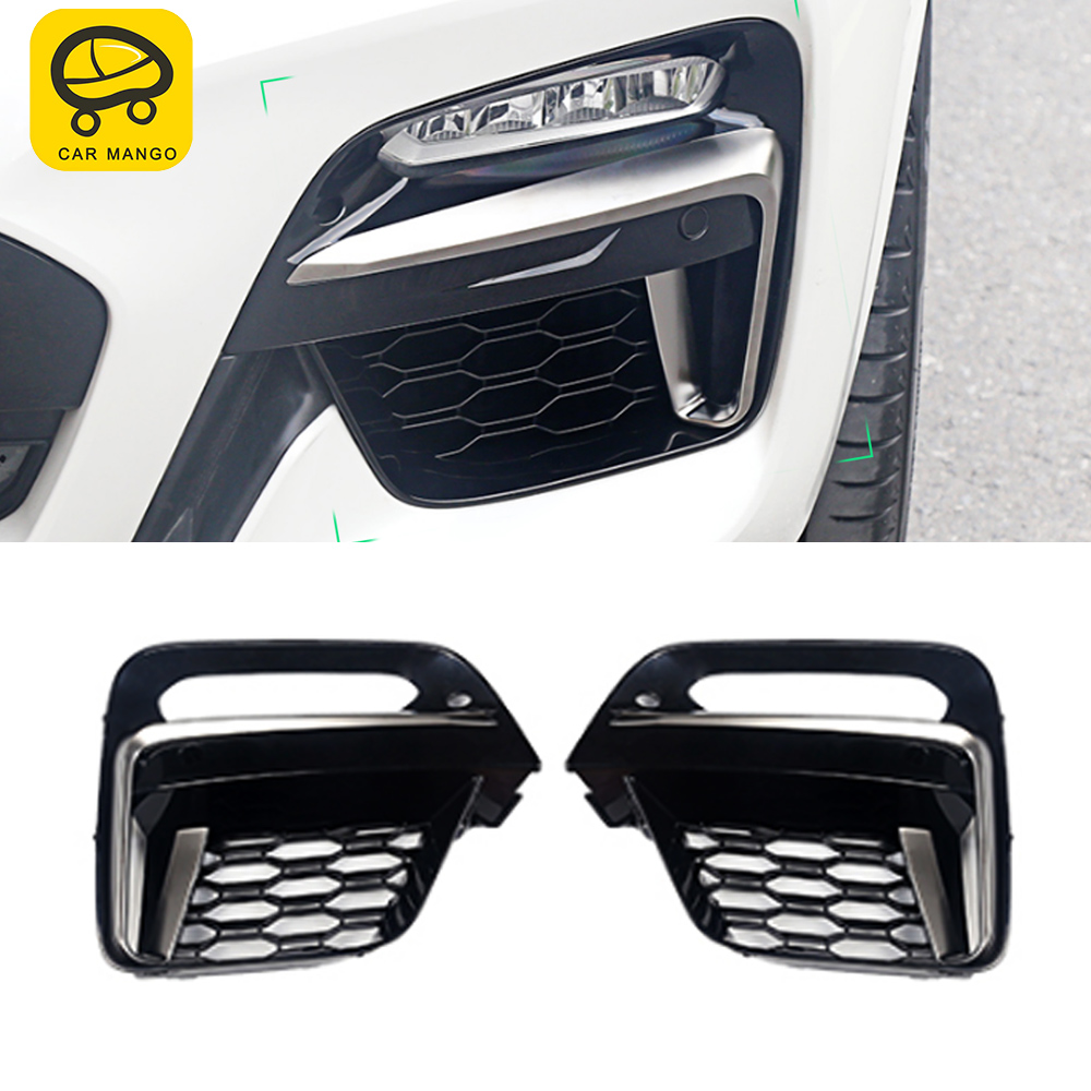 CARMANGO for <font><b>BMW</b></font> <font><b>X3</b></font> <font><b>G01</b></font> X4 G02 2017-2019 Car Front Grille Grill Net Sheet Fog Light Protector Frame Decorations Exterior Parts image