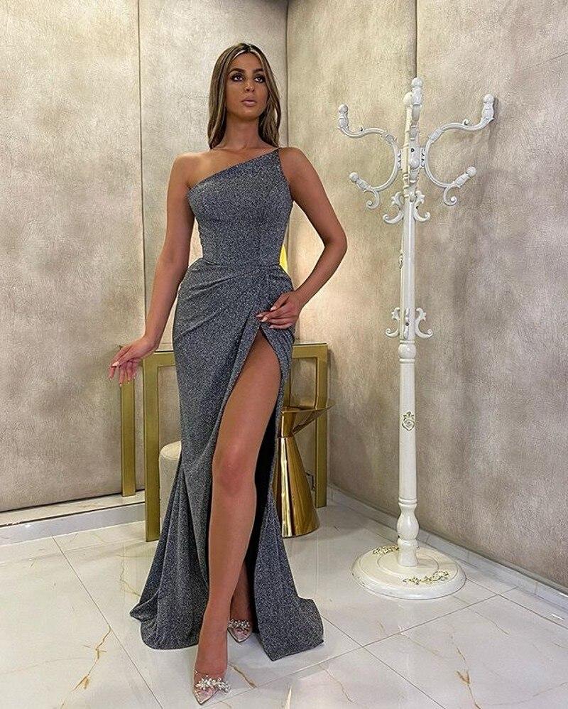 Saudi Arabia Gray Mermaid Prom Dresses One Shoulder Satin Evening Dress Turkey Party Gowns Vestidos De Festa 2021