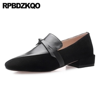square toe 2019 flats 10 designer shoes china italian genuine leather women slip on 11 ladies loafers suede black large size