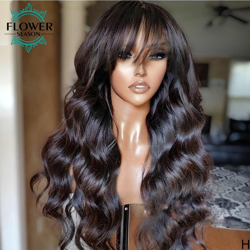 Brazilian Human Hair Wigs with Bangs Scalp Base Top Full Machine Made Wig 180% Body Wave Wigs with Bangs for women Flowerseason