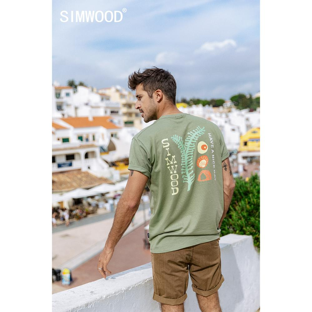 SIMWOOD 2020 Summer New Artistic Print T-shirt Men 100% Cotton Breathable Tops Matching Couple T Shirt Plus Size SJ120049