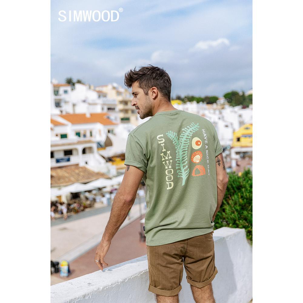 SIMWOOD 2020 yaz yeni sanatsal baskı t-shirt erkekler % 100% pamuk nefes eşleşen çift T shirt artı boyutu SJ120049