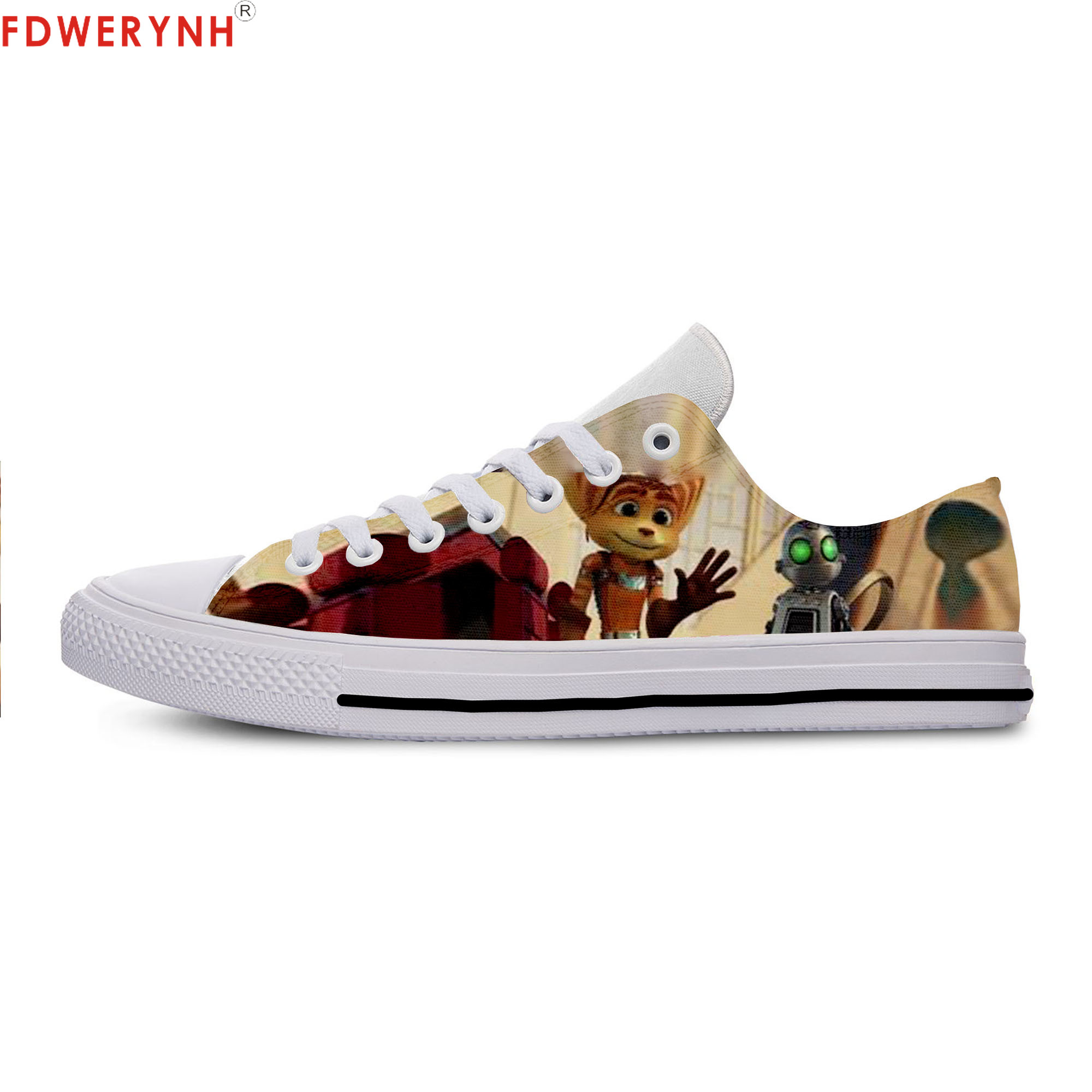 Men's Casual Shoes Cartoon Cute Funny Game Ratchet Clank Canvas Strap Ladies Casual Man Shoes Comfortable image