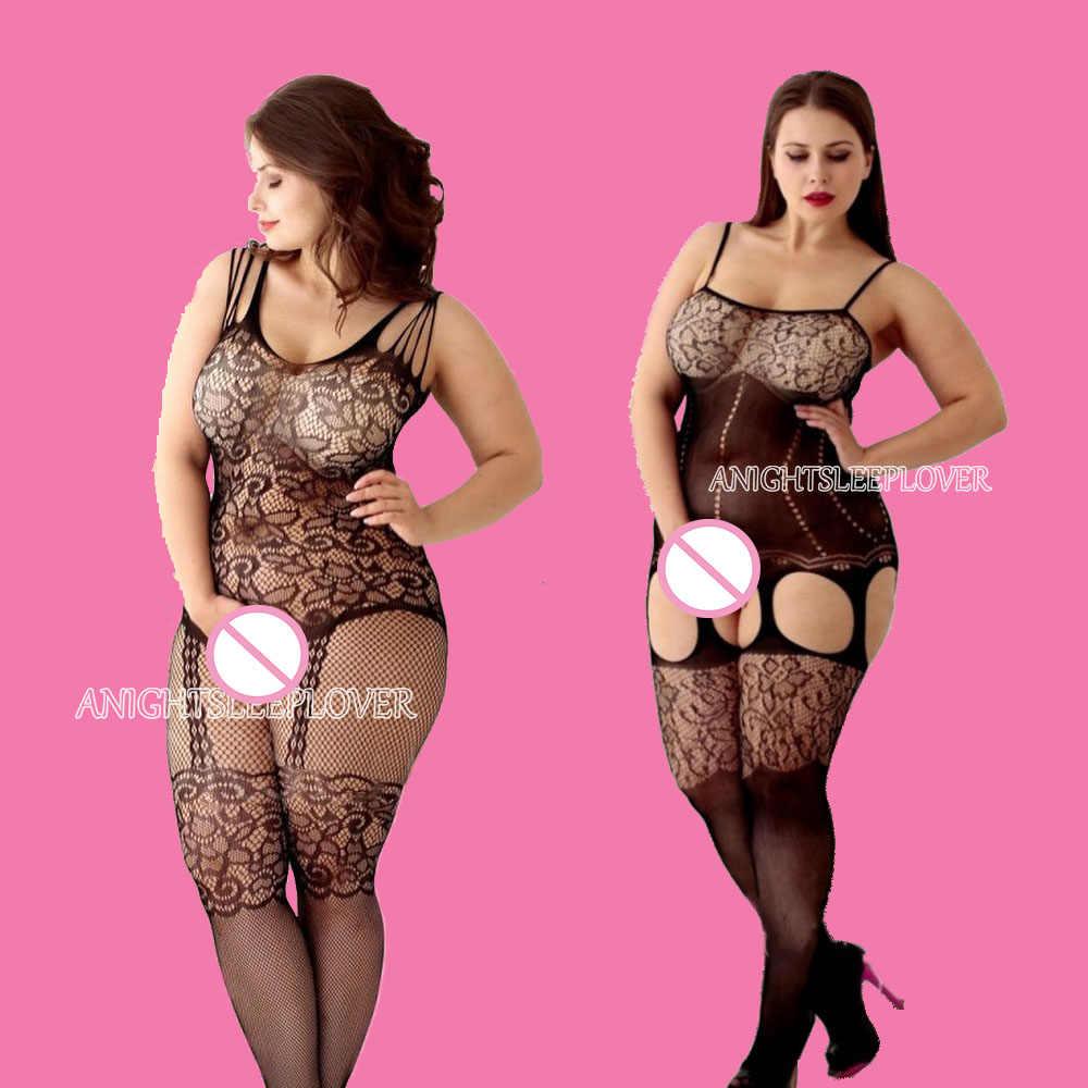 Seksi Bodystockings Wanita Stoking Jala Terbuka Selangkangan Catsuit Mesh Celana Ketat Pakaian Dalam Wanita Erotis Bodysuit Baju Tidur Crotchless Jumpsuit Teddy