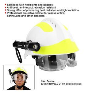 Image 4 - Capacetes de segurança de resgate de emergência anti impacto bombeiro capacete de proteção com farol e óculos de proteção