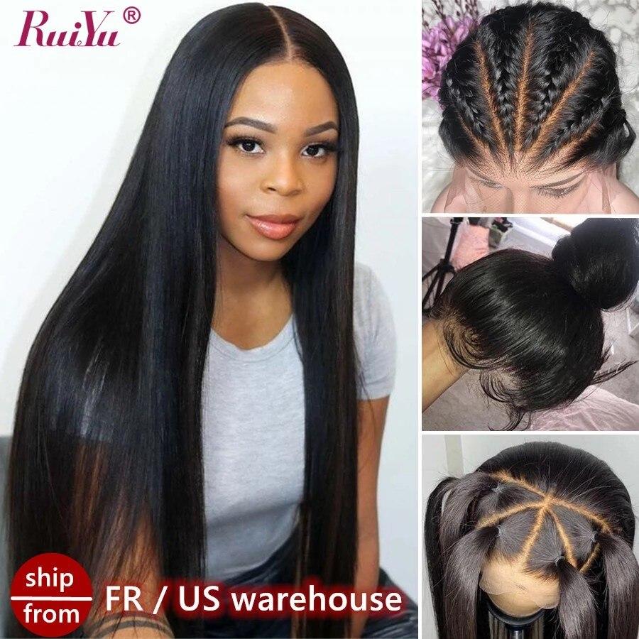 Длинные прямые передние парики на сетке для женщин, парики из человеческих волос без повреждений, плотность 250, передний парик на сетке RUIYU, п...