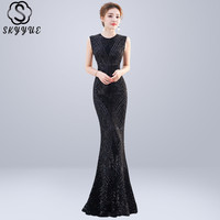 Skyyue Evening Dress Sleeveles Zipper Women Party Dresses Elegant Robe De Soiree 2019 O neck Sequin Formal Evening Gowns C111
