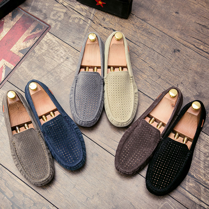 Summer Breathable Suede Leather Men Casual Shoes Brand 2020 Mens Loafers Moccasins Soft Slip On Driving Shoes Flat Boat Shoes