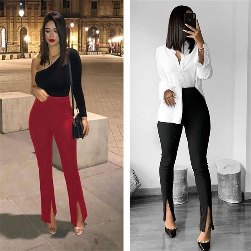 Fashion 2020 Women Push Up Yoga Pants High Waist Ruched Leggings Sports Fitness Workout Bodycon Split Pants Long Flared Trousers