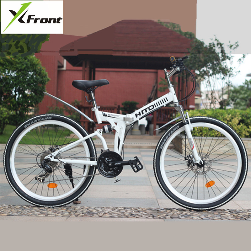 New Carbon Steel Frame 24/26 Inch Wheel Soft-Tail Suspension Dual Disc Brake Folding Bike Outdoor Sports Bicycle MTB Bicicleta