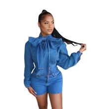 Echoine Long Sleeve Big Bow tie Neck Denim Shirt Tops and High Waist Jeans Shorts 2 Piece Set Blue Women Matching Set Outfits
